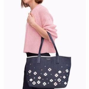 Kate Spade Triple Compartment Tote Dark Denim NWT